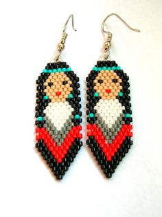 Indian Maiden Feather Delica Seed Beaded Dangle by fantasybeader, $18.00