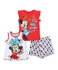 Loving this Red Minnie Mouse Ruffle Tank Set - Kids on #zulily! #zulilyfinds