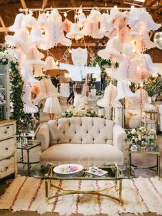 paper bell backdrop The cream event 2015 florals by @bloombabes