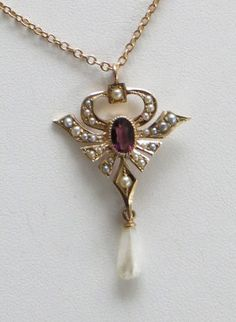 Antique 10k Gold Amethyst Seed Pearl Lavaliere Necklace Free Shipping to USA                  http://www.rubylane.com/item/494613-aj439-bg3505/Antique-10k-Gold-Amethyst-Seed