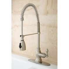 @Overstock - Update the look of your kitchen with a single-handle pull-down kitchen faucet from American Classic. This modern faucet has all of the features you need to work in your sink. Pull the faucet from its holder to direct water for cleaning or cooking