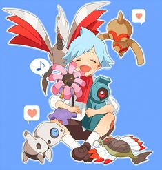 Steven Stone with Skarmory, Baltoy, Lileep, Beldum, Aron, and Anorith