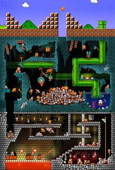 The Pit: Super Mario Bros. what really happens to Mario when he falls into a hole. Retro Videos, Retro Video Games, Video Game Art, Vintage Video Games, Classic Video Games, Super Mario Bros, Super Mario Brothers, Super Nintendo, Nintendo Games