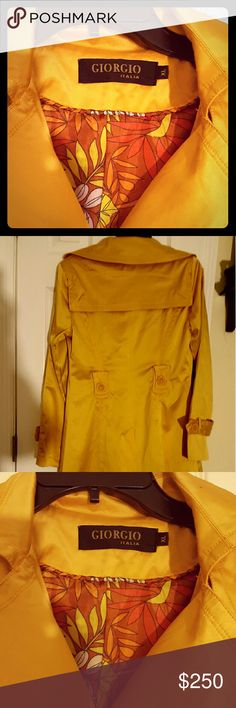 GIORGIO ARMANI ITALIA. SPORTS JACKET/BLAZER,XL TRENDING NOW! THIS BEAUTIFUL MUSTARD COLORED STRETCH JACKET HAS ALL THE MARKINGS OF FASHION WEEK COLLECTION. INTERIOR IS FLORAL PRINT EMBELLISHED. AND FRONT POCKETS AS WELL. COTTON AND SPANDEX. PURE CLASS!! Giorgio Armani Jackets & Coats Blazers