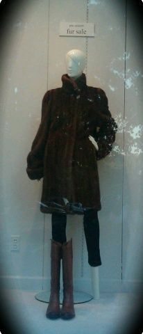 In the window: Great sweater dress by Chancelle; ankle boots by Sofft