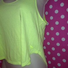 New Victoria's Secret Pink Crop Tank Top Cover Up Shirt Neon Yellow s Small | eBay