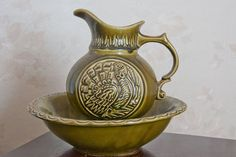 Mccoy Pitcher and Bowl Large, Turkey , Thanksgiving Decor, olive green, Bird, Made in USA,  Folk Art