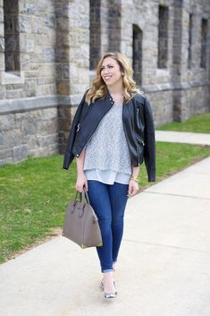 Casual Neutral Spring Outfit | Zara Leather Jacket | Spring Gray Sweater | Joe's Skinny Jeans on Living After Midnite