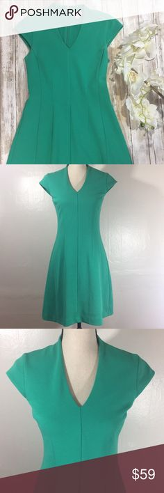 """{Lilly Pulitzer} Fit and Flare Dress ✨Lilly Pulitzer Fit and Flare Dress✨  - Cap sleeves - Hidden back zip  -  Ribbed - V-Neck - Pleating detail - Lined - Shell: polyester/cotton/spandex - Lining: polyester   Approx Measurements: Length: 36"""" Pit to pit: 16"""" Waist: 15""""  Jewel green color. Gorgeous! Excellent condition. Lilly Pulitzer Dresses"""