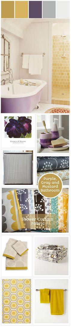 Canada's Got Colour Winner #mustard #purple #gray #bathroom