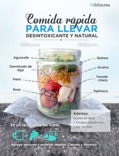 Hábitos Health Coaching | DELICIOSA ENSALADA PARA LLEVAR Raw Food Recipes, Cooking Recipes, Healthy Recipes, Equador Quito, Comidas Fitness, Snacking, Good Food, Yummy Food, Diy Food