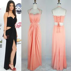 Sheath/Column Halter Chiffon Floor-length with Split Front Prom Dresses