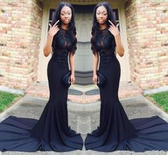 Sexy African Black Mermaid Prom Dresses 2017 Court Train Satin See Through Long Evening Gowns O Neck Long Graduation Party Dress