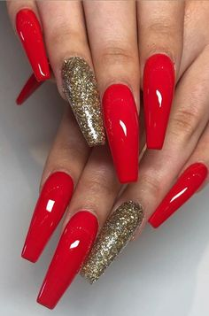 46 Best Acrylic Nails Designs for This Year 2019 Part 13 . 46 Best Acrylic Nails Designs for This Year 2019 Part 13 Acrylic Nails Coffin Glitter, Coffin Nails Long, Glitter Nails, Christmas Acrylic Nails, Red Christmas Nails, Metallic Nails, Red Nail Designs, Acrylic Nail Designs, Art Designs