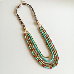 Multi-Strand Gemstone Dangle Necklace Boho Gold by Pitakjewellery