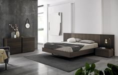 Double Bed Headboards For Bedrooms Double bed / contemporary / oak / wood veneer MIES by Odosdesign Bed Headboard Design, Bedroom Bed Design, Headboards For Beds, Bedroom Sets, Master Bedroom, Contemporary Bedroom, Modern Bedroom, Modern Beds, Bed Furniture