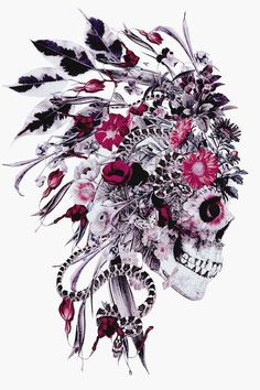 Momento Mori Chief Canvas Art by Riza Peker Pretty Skull Tattoos, Feminine Skull Tattoos, Floral Skull Tattoos, Sugar Skull Tattoos, Indian Skull Tattoos, Sugar Skull Art, Sugar Skulls, Et Tattoo, Cover Up Tattoos