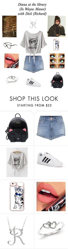 """Diana at the library (In Wayne Manor) with Dick (Richard)"" by bloodnote ❤ liked on Polyvore featuring J Brand, adidas, Casetify, Younique, Fiebiger and Kevin Jewelers"