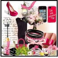 """""""Pink & Black Love"""" by aiinuitachi ❤ liked on Polyvore"""