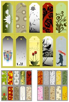 Bookmarks templates vector. 3 sets with vector bookmark templates with different illustrations. Format: EPS stock vector clip art. Free for download. Theme: templates of bookmarks.