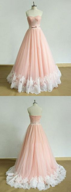 prom dresses,Sexy Prom Dress,pink tulle long lace appliques
