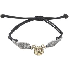 WB Harry Potter Golden Snitch Bracelet ($6.50) ❤ liked on Polyvore featuring jewelry, bracelets, harry potter, black, cord bracelet, warner bros., golden bangles, golden jewelry and pendant jewelry