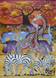 tinga tinga art - Google Search Animal Outline, Zebra Art, Aboriginal Art, Ceramic Painting, African Art, Art Google, Animal Drawings, Multimedia, Adult Coloring