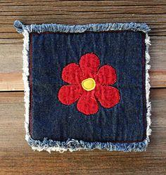 Agarraderas de Blue Jeans  Hotpads Flower por DeMasterDesigns