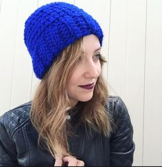 A personal favorite from my Etsy shop https://www.etsy.com/listing/252268410/royal-blue-crochet-slouchy-hatroyal-blue