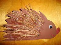 tiiperöiden touhuja: siili askartelu Autumn Crafts, Fall Crafts For Kids, Diy And Crafts, School Art Projects, Techno, Fish, Animals, Snails, Autumn Crafts Kids