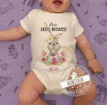Bügelbild mit Namen für das erste Osterfest deines Babys. Perfekt um auf Bodys oder Shirts gebügelt zu werden. Mein erstes Ostern.#feenstaub #ostern Washi Tape, Onesies, Shirts, Clothes, Fashion, Pregnancy Countdown, Simple Diy, Names, Decorating Ideas