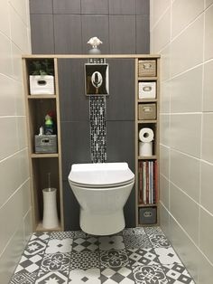 Guest bathroom with toilet closet makeover 24 Modern Bathroom Design, Bathroom Interior Design, Bathroom Designs, Contemporary Bathrooms, Interior Modern, Modern Luxury, Kitchen Interior, Grey Toilet, Modern Toilet