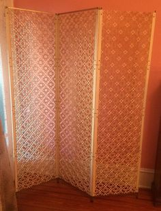 Cream Three Panel Room Divider Partition Privacy Screen Mid Century Modern