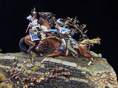 French Cuirassier and Russian dragoon (in light blue tunic).