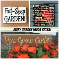 Creative Garden Sign Ideas and Projects • Lots of great Ideas and Tutorials! Including, from 'organized clutter queen', these great garden sign ideas.