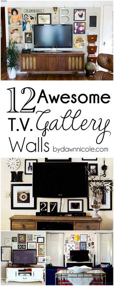 12 Awesome TV Gallery Walls | byDawnNicole.com but my walls already look like this...I just want that stand in the first pic!