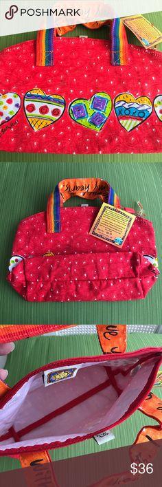 🆕 Sally Huss Bag red ❤️ heart design Cute bag by Sally Huss! Rainbow fabric handles. Zip top. Sally Huss Bags