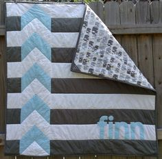 Modern Personalized Chevron Quilt for Baby Boy by Shelsy on Etsy
