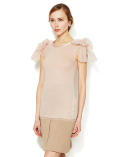 Valentino Jersey Tulle Bow Top