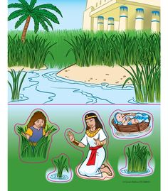 Baby Moses in the Bullrushes - Kids Sunday School Bible Craft Baby Moses Crafts, Moses Bible Crafts, Bible Story Crafts, Bible Crafts For Kids, Bible Stories, Baby Crafts, Sunday School Kids, Sunday School Activities, Sunday School Lessons