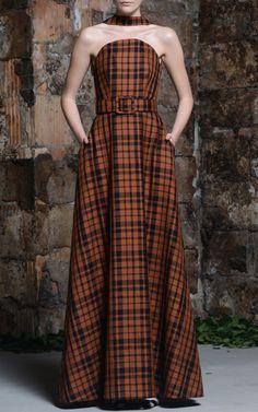 Irene Check Floor-Length Choker Dress by Rosie Assoulin for Preorder on Moda Operandi