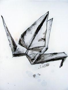 'Tsuru' drawings, Alice Thatcher 2012 ©  #origami #drawing
