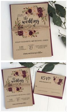 Rustic wedding invitation. Marsala wedding invitation. Burgundy wedding