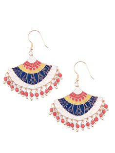"""Handmade fan earrings with dangling colorful beads in red or blue 2.25"""" length Gold tone-plated brass and hand painted color Nickel free Handcrafted at a fair t"""