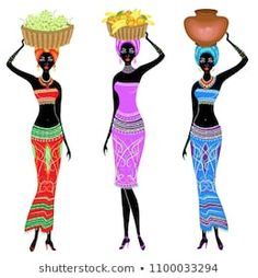 The girl is carrying a basket on her head with persimmons, oranges, bananas, grapes and a jug. Women are slim and young. Set of vector illustrations. African Dolls, African Girl, African Women, African Artwork, African Art Paintings, Afrique Art, Funny Cross Stitch Patterns, Scandinavian Folk Art, Afro Art