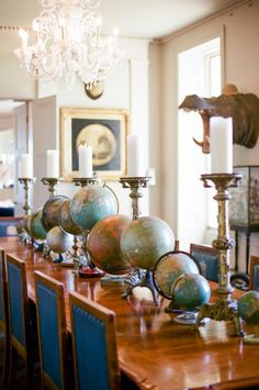 AYNHOE PARK TOUR Globes Dining Table Interior Design Decor