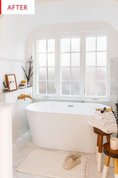 Before and After: This Bathroom Redo Is the Stuff Bathtub Dreams Are Made Of White Marble Bathroom D Budget Bathroom Remodel, Bathtub Remodel, Carrara, Zen Bathroom, Bathroom Tubs, Bathroom Ideas, Bathtub Ideas, Bathroom Inspiration, Small Bathroom