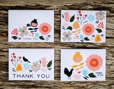 Folk Garden Thank You Cards ~ spread the love -- love the touches of black
