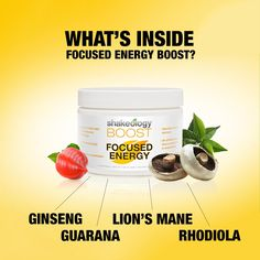 With every scoop of Focused Energy BOOST, here's what you're getting. ✔️ Guarana - an energizing plant that helps increase alertness, fight fatigue, and increase concentration ✔️ ginseng - ancient herb that promotes vitality, mental clarity, and memory ✔️ Rhodiola - adaptogen used to ease mental fatigue and enhance ability to cope with stress ✔️ lion's mane (mushroom) supports the immune system and improves cognitive functions ✔️ #BoostUp! ✔️ want to try one?