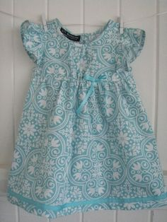 [Lil Buckeroo] #Handmade #Aqua #floral #Party #Dress for #toddlers and little…